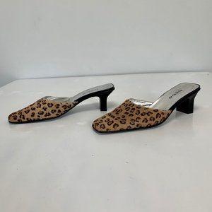 Bebe Heeled Leopard Size 7.5 Slides